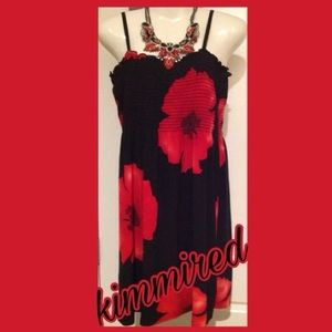 Dresses & Skirts - 🌹Red/Black Floral Sundress ~ L/XL ~ EUC🌹